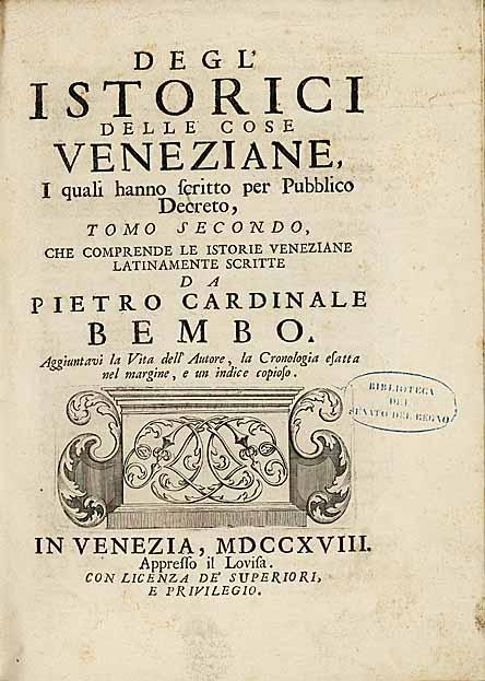 Degl'Istorici delle cose veneziane - Tomo II