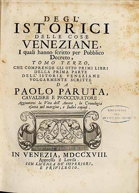 Degl'Istorici delle cose veneziane - Tomo III